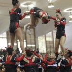 Radford cheerleaders perform during the competition.