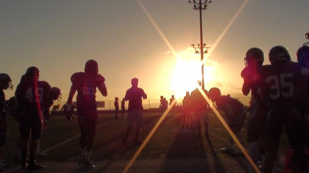Pre-game warmups, Farrington-Kamehameha football.