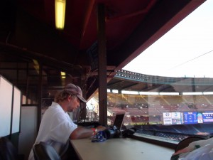 Jerry Campany preps for tonight's ILH doubleheader at Aloha Stadium. (Paul Honda / Star-Advertiser)