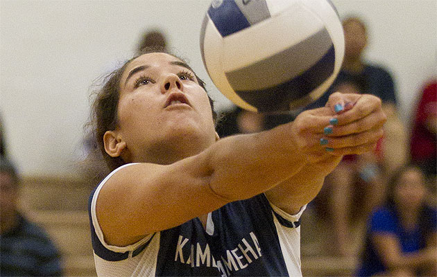 Kamalani Akeo is an important part of Kamehameha's tough defense. Honolulu Star-Advertiser photo by Cindy Ellen Russell