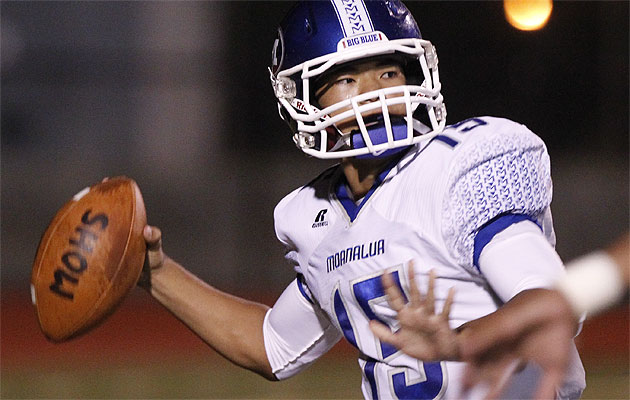 Moanalua quarterback Micah Kaneshiro has put up big numbers in 2013.  Honolulu Star-Advertiser photo by FL Morris