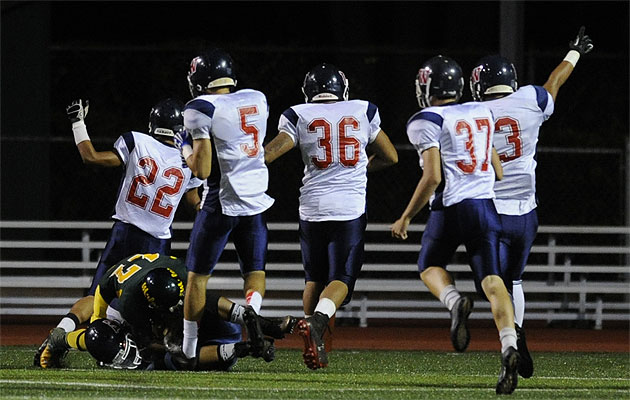Waianae special teams players celebrated a score after recovering a loose ball during a kickoff last week in Leilehua. The Seariders are going to be tested on the road again this week when they visit Campbell. (Bruce Asato / Star-Advertiser)