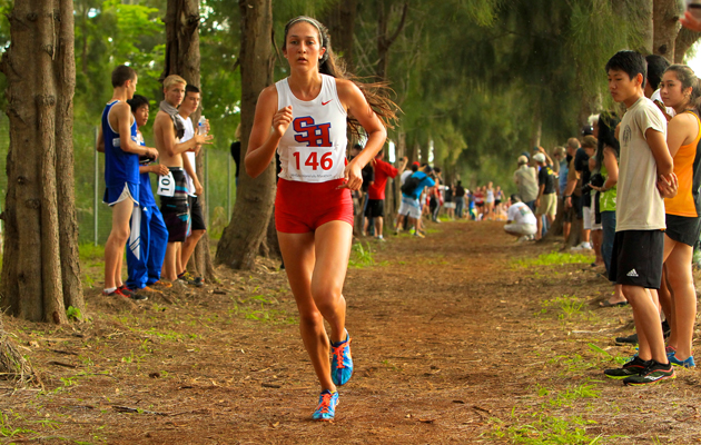 Seabury Hall's Dakota Grossman had a big lead at the state meet Friday on Kauai. (Jesse Castro / Special to the Star-Advertiser)
