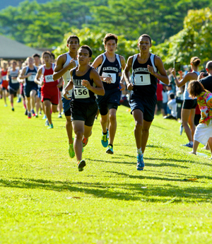 Kamehameha's Davis Kaahanui led the pack in the boys race. (Jesse Castro / Special to the Star-Advertiser)
