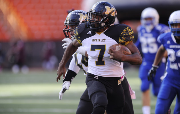 Gerime Bradley and McKinley face Waipahu in the OIA Red playoffs. (Bruce Asato / Star-Advertiser)