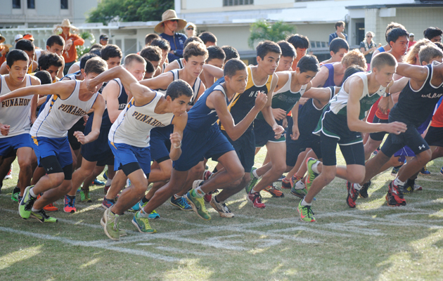 Runners at the start of the boys ILH cross country race on Saturday. (Jerry Campany / Star-Advertiser)