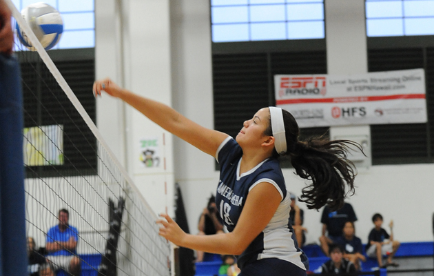 Kamehameha's Peyton Spragling went up for a kill against Moanalua on Thursday in Keaau. (Rick Ogata / Special to the Star-Advertiser)