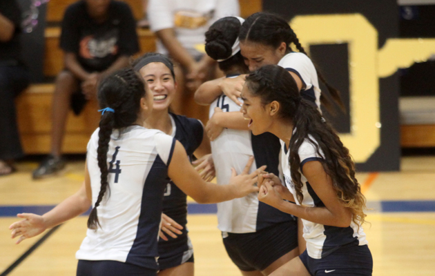 Kamehameha players celebrated their ILH championship on Thursday night. (Kat Wade / Special to the Star-Advertiser)