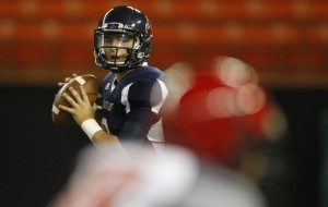 Saint Louis QB Ryder Kuhns has completed 67 percent of his pass attempts. (Jamm Aquino / Star-Advertiser)