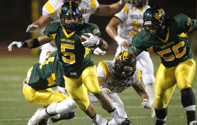 Ikaika Piceno and Leilehua face Moanalua in the OIA Red playoffs. (Jamm Aquino / Star-Advertiser)