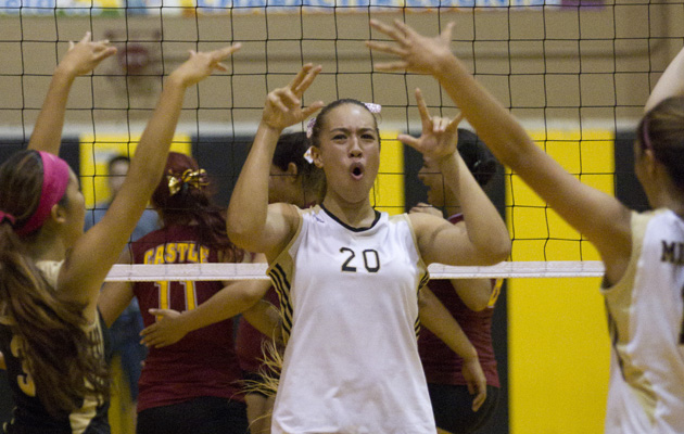 Mililani's Sarah Liva celebrated with teammates during an OIA playoff victory over Castle. (Cindy Ellen Russell / Star-Advertiser)