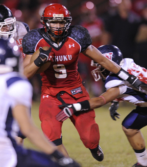 Kahuku RB Soli Afalava rushed for a career-high 157 yards last week against Waianae. (Jamm Aquino / Star-Advertiser)