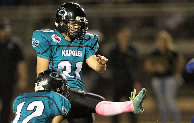Kapolei's Arielle Stoyanow drilled an extra-point kick against Kailua. (Jay Metzger / Special to the Star-Advertiser)