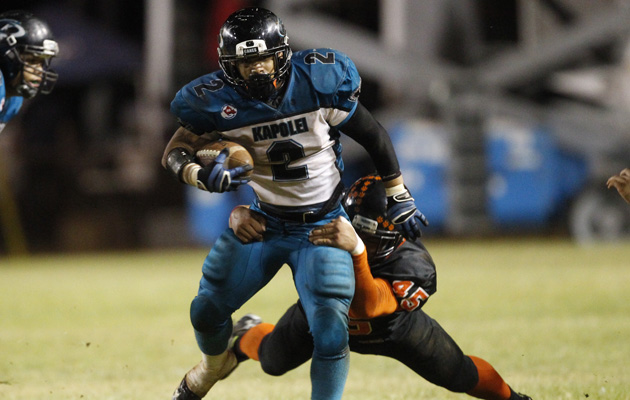 Triston Pebria leads Kapolei in rushing with 633 yards and eight touchdowns. (Krystle Marcellus / Star-Advertiser)