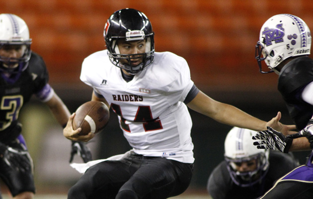 'Iolani QB Easton Tsubata. (Krystle Marcellus / Star-Advertiser)