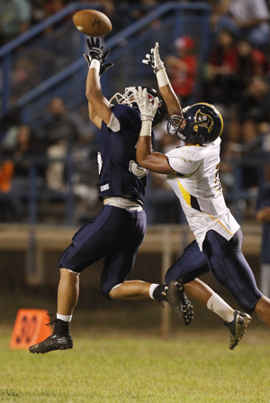 Receiver Tama Iosefa has eight catches for 147 yards and two TDs for Waipahu. (Jamm Aquino / Star-Advertiser)