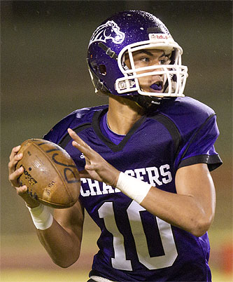 Pearl City quarterback Jordan Taamu has guided the Chargers to six wins in their last seven games. Honolulu Star-Advertiser Photo by Cindy Ellen Russell