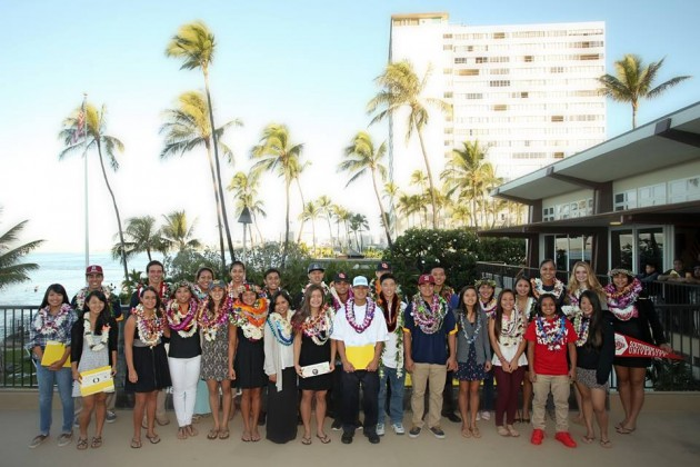The signees at PIAA's letter-of-intent event at Elks Lodge Waikiki. (Photo courtesy of PIAA)