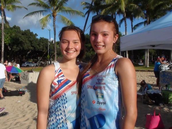 Sophomore Brandee Markwith and freshman Teiana Cacaldo of Punahou captured the girls crown. (Paul Honda / Star-Advertiser)