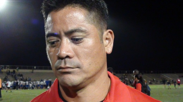 Lahainaluna co-head coach Garret Tihada complimented the Cougars, but also conceded that his offense struggled without Jared Rocha-Islas. (Paul Honda / Star-Advertiser)