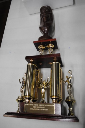 This is what the girls are playing for tonight. Both teams are very familiar with it.