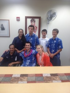The Enriques family and Evan (front middle) after he signed with Stanford. (Photo courtesy of Nelson Wong / Kamehameha-Hawaii Athletic Department)