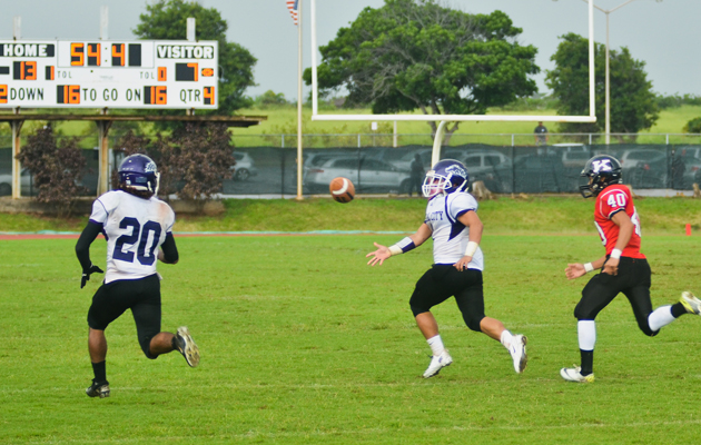 Timothy Rivera pitched to Blake Cooper as time was running out on Pearl City's season. RON KOSEN / SPECIAL TO THE STAR-ADVERTISER