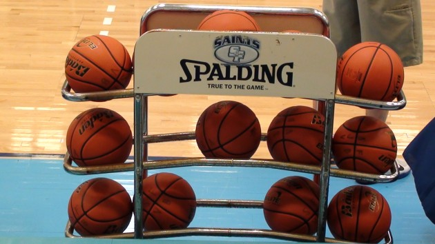 Host St. Francis has a triple rack of Baden basketballs, but some games have been played with Spalding TF-1000. (Paul Honda / Star-Advertiser)