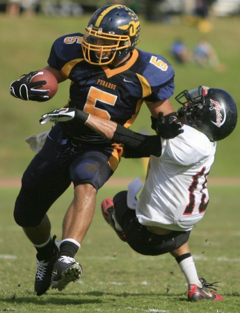 Punahou's Manti Teo was the defensive player of the year for both newspapers in 2008 and the Honolulu Star-Bulletin's selection in 2007. Photo by Jamm Aquino.