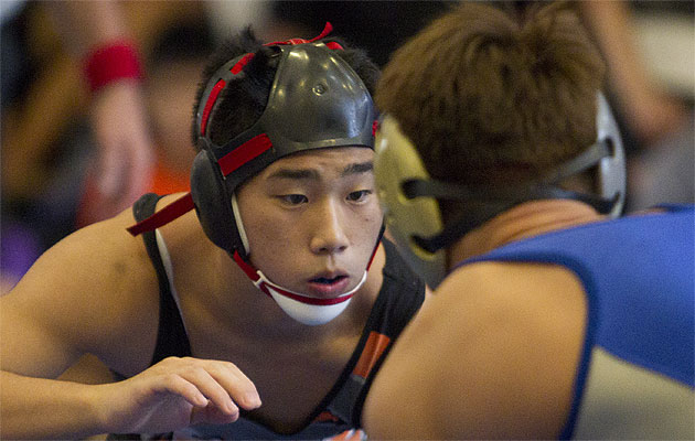 Mid-Pacific's Josh Terao is trying to become the sixth wrestler to complete his career with four state titles. Honolulu Star-Advertiser photo by Cindy Ellen Russell