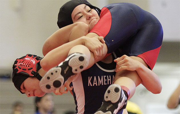 Kamehameha's Harmony Pacheco will be an important part of Kamehameha's run to the state title. Honolulu Star-Advertiser Photo by Krystle Marcellus
