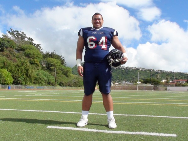 Saint Louis offensive lineman Fred Ulu-Perry. (Paul Honda / Star-Advertiser)