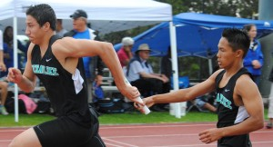 King Kekaulike trailed throughout its race in the 4x100 but made it up on the anchor leg.