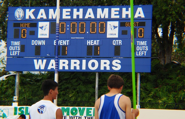 Trials have begun on the Kamehameha campus. No  wind, but it is threatening to drizzle.