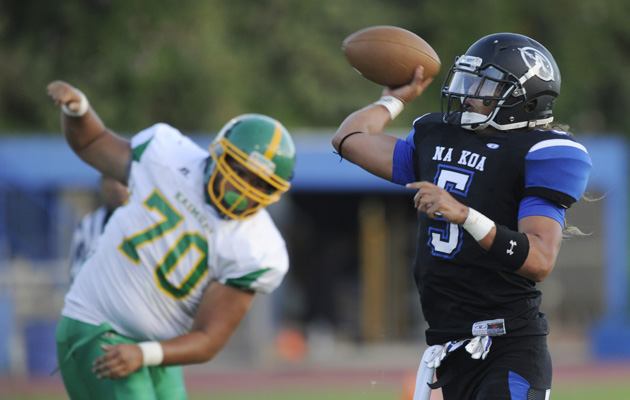 Anuenue quarterback Kona Kelekolio was one of 16 Na Koa players to suit up for last week's game. HSA photo by Bruce Asato