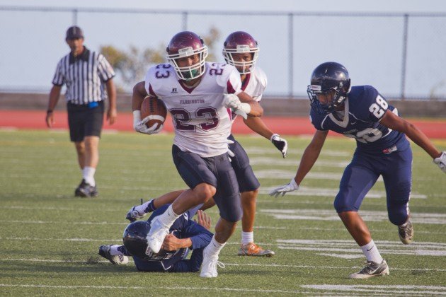 Ranan Mamiya is one of many backs in line for a share of the carries for Farrington. Photo by Dennis Oda.